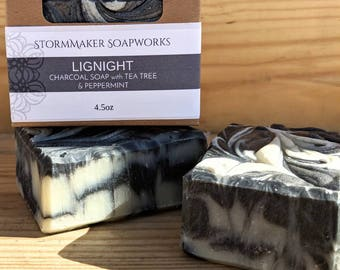 Lignight, Tea Tree & Charcoal, All Natual Bar Soap, Acne Soap, Vegan