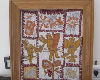 Signed Art Hand painted Framed Original Quilt Textile baltic style