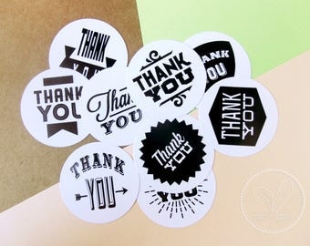 9 Circle Stickers - Thank you - Label, Gift Wrapping, Packaging