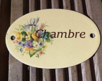 French vintage shabby chic enamel 'Chambre' bedroom door sign