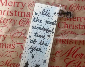 Most Wonderful Time of the Year bookmark w/ presents charm