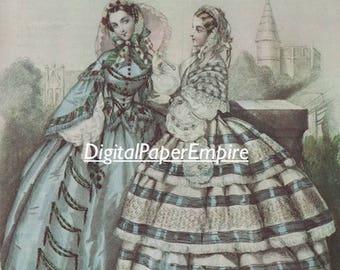 DIGITAL DOWNLOAD - Antique Victorian Ladies Image, Scrapbook supply, Digital Ephemera, Digital Paper