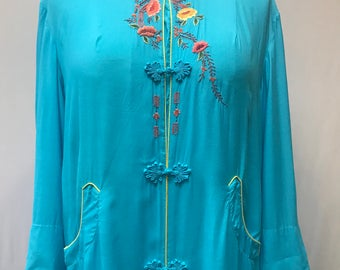 Vintage Chinese robe, beautiful turquoise blue with yellow piping and gorgeous embroidery detail.