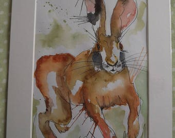 watercolour running hare abstract painting