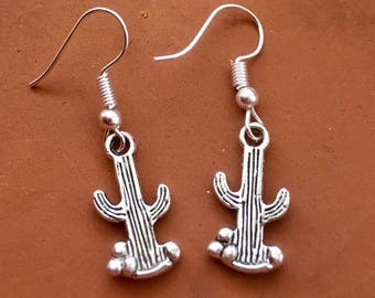 Cactus Earrings, Cacti Dangle Earrings, Southwest Desert Jewelry