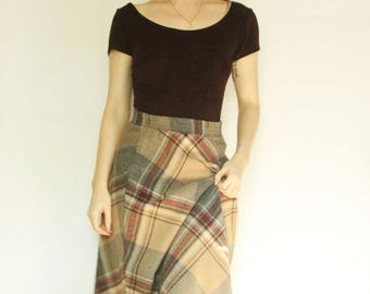 70s Plaid Wool Skirt XS