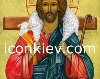 The Good Shepherd, Digital download, Orthodox Icon, Byzantine Icon, religious paintings