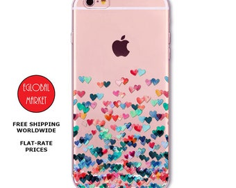 TPU Silicone Rubber Case, iPhone 5, iPhone 6, iPhone 7, Samsung S6, Samsung S7 Case: Flying Hearts