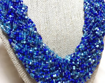 Stunning cobalt blue beaded necklace.