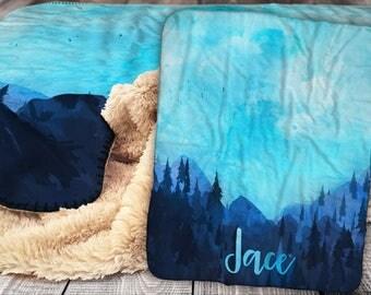 Personalized Blanket - Sherpa Throw Blanket -  Outdoor Rustic Blanket - Mountain Blanket - Personalized Name Blanket - Baby Blanket - Sherpa