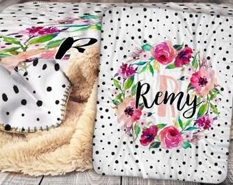 Personalized Blanket - Sherpa Throw Blanket -  Floral Wreath Blanket - Flower Blanket - Personalized Name Blanket - Baby Blanket - Sherpa