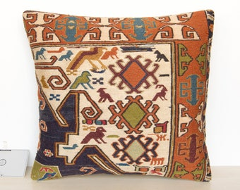 "18""x17"" (46x44cm) Decorative Kilim Pillow Cushion cover made from Vintage Persian Shahsavan Soumak Sumak Rug F0005"