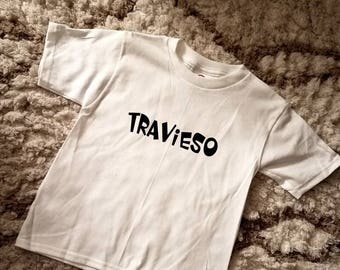 Travieso Toddler Tee 2T-5T / Troublemaker Tee for Kids and Toddlers / Bilingual Tee / Latin Culture / Spanish Tees / Bilingual Kids