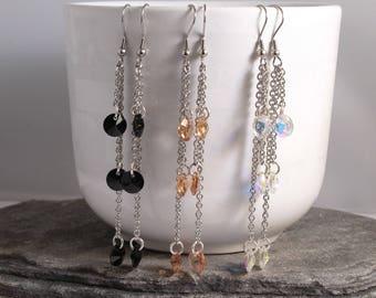 Tassel Earrings, Swarovski Earrings, Drop Earrings, Long Earrings, Chain Earrings, Crystal Earrings,Stainless Steel Earrings,Dangle Earrings