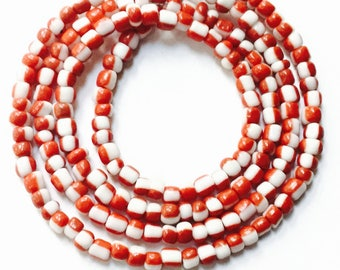 Red and White African Waist Beads