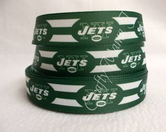 "New York Jets Football NFL 7/8"" Grosgrain Ribbon by the yard. Choose 3/5/10 yards."