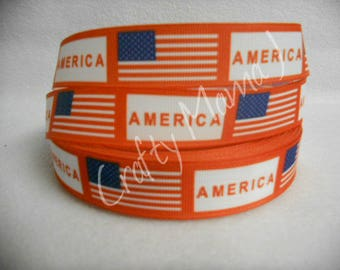 """American Flag Design with """"America"""" Printed 7/8"""" Grosgrain Ribbon by the yard. Choose between 3/5/10 yards. America Red, white and blue"""