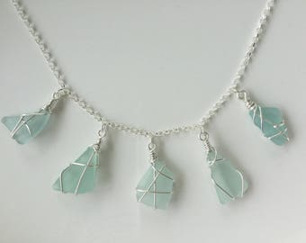 Five seaglass charms necklace