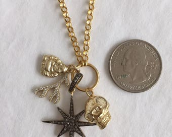 Skull, Star, charm, pendant, jewelry, Buda, coral
