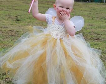 Gold and Cream Tutu Flower Girl/Bridesmaid, party Princess dress Handmade By The Little Fairy's Emporium