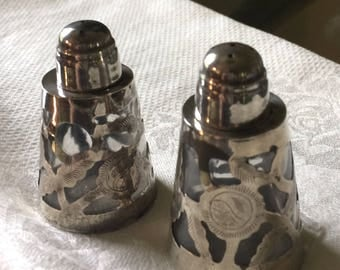 Mexican Sterling and Glass Mini Salt & Pepper Shakers