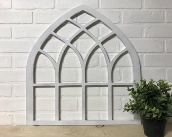 Half Curved Vintage Arched Wooden Cut Out Window