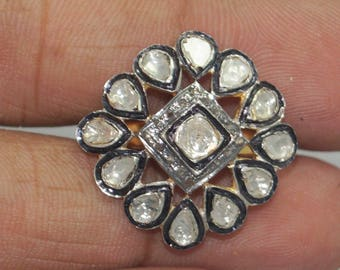 Victorian style 4.10 CTS rose-cut diamond, uncut diamonds, sterling silver ring - SKU PJ110805