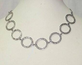 Classy pave diamond Sterling Silver circle necklace choker - PJ4101715