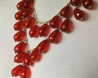 Red Acrylic Bead Necklace