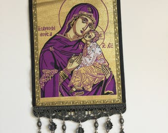 Huge Woven Wall Hanging Religious Tapestry Madonna & Child Orthodox Icon Crucifix Cross US SELLER