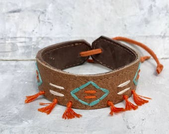 Hand-embroidered leather bracelet