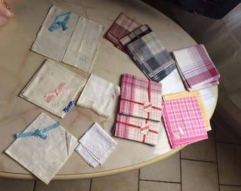 Set of (26) old handkerchiefs