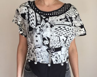 80s top, 80s blouse with real dice detail