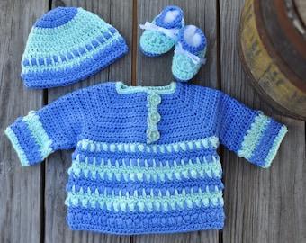 Crochet Baby Sweater Set Periwinkle Mint