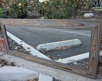 Reclaimed wood mirror/ full length mirror/ Designer Gray mirror