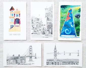 Set of 5 San Francisco Postcard, Water Color Painting,Pigment Ink Painting, Art Prints