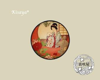 Antique, Baby, Botan:Brooch, Ukiyo-e, Japan