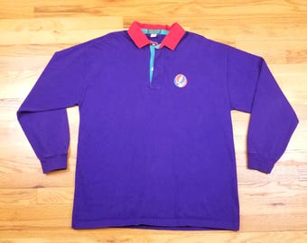Vintage 90s Rare Grateful Dead Long Sleeve Purple DeadHead Shirt Size XL