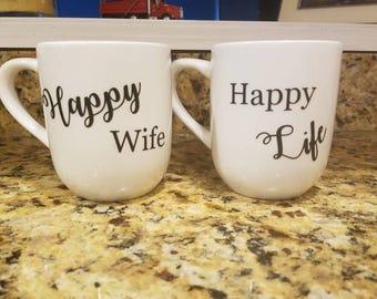 Happy wife happy life mugs