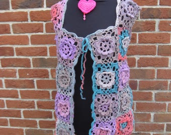 Floral Trail crochet waistcoat