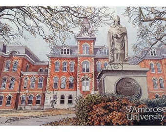 St. Ambrose University LIMITED EDITION Pen and Ink and Watercolor Art Print Illustration by John Stoeckley -Graduation Gift