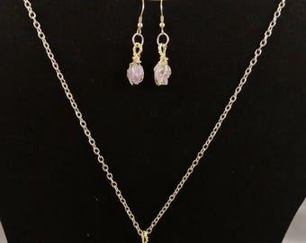 Natural Amethyst Quartz Crystal Jewelry Set