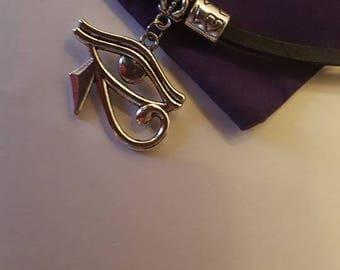leather choker , eye of horus pendant