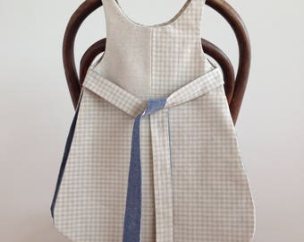 smock, handmade, baby, pinafore, linen, vintage, dress, cotton, toddler, natural, simple, quality, reversible