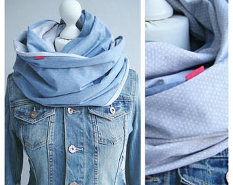 Loop, circle scarf, grey / blue with dots