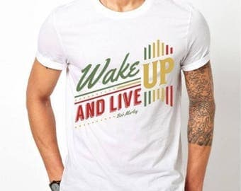 Mens Wake Up & Live - White T-shirt