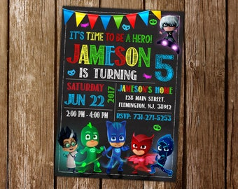 Pj Mask Invitation, Pj Mask Birthday,  Pj Mask Party, Masks Invitation, Pj Masks Printable