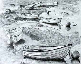 """Original graphite drawing on Bristol board titled: """"Soon"""". Dinghies wait to shuttle passengers to the main boats. Ocean theme Free shipping"""