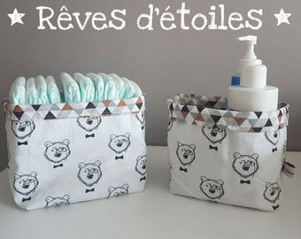 Baskets, baskets, organizers for changing table, sleeping bear