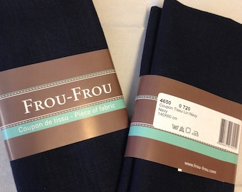 Dark blue color linen fabric coupon